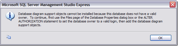 Database has no valid owner